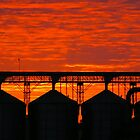 Silo silhouettes against a red sky by Ike Faithfull