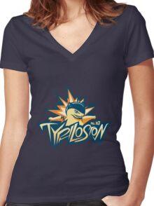 Cherrygrove City Typhlosion Women's Fitted V-Neck T-Shirt