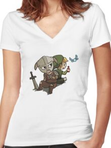Skyim-Legend of Zelda Women's Fitted V-Neck T-Shirt