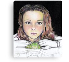 Kiki and the frog - colourised Canvas Print
