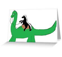 Ride that Dino Honey Badger! Greeting Card