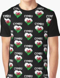 Cymru - Welsh Flag Heart & Text - Metallic Graphic T-Shirt