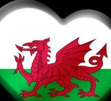 Cymru - Welsh Flag Heart & Text - Metallic Sticker