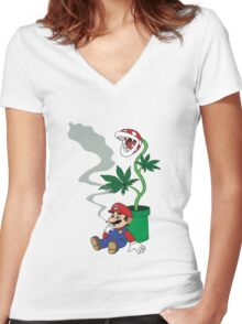Super Pothead Mario Women's Fitted V-Neck T-Shirt