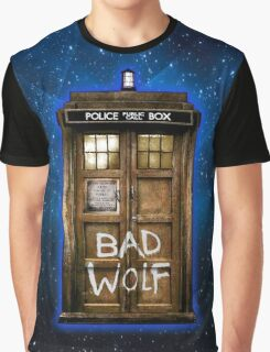 Old Rustic wood Phone box with Bad Wolf typograph Graphic T-Shirt