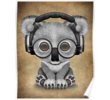 Cute Baby Koala Bear Dj Wearing Headphones  Poster