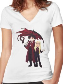 Hellsing and Alucard - Cartoon Style Women's Fitted V-Neck T-Shirt