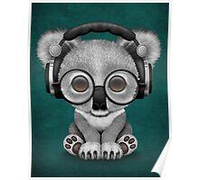 Cute Baby Koala Bear Dj Wearing Headphones on Blue Poster