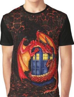 Blue phone box with Smaug The Red wyvern dragon Graphic T-Shirt