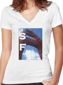 SF Golden Gate Women's Fitted V-Neck T-Shirt