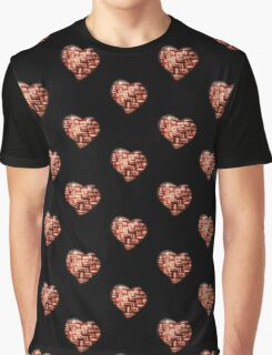 Bacon - Heart - Woven Strips Graphic T-Shirt