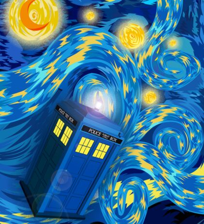 Space and time traveller phone box Starry the night Cartoons Sticker