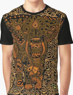 Aztec Elephant with floral Pattern Graphic T-Shirt