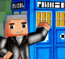 8bit 12th Doctor with blue phone box Sticker
