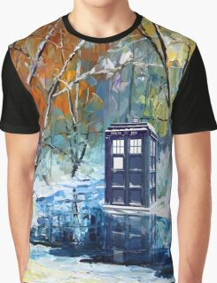 Snowy Blue phone box at winter zone Graphic T-Shirt