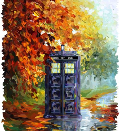 Autumn British Blue phone box painting Sticker