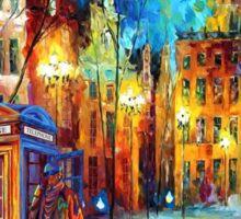 Sherlock Phone booth and Big ben art painting Sticker