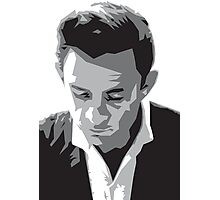 Grayscale Johnny Cash Photographic Print
