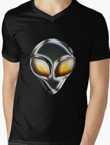 Metal Alien Head Mens V-Neck T-Shirt