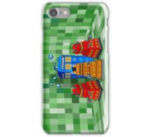 8bit Robot Droid Dalek with blue phone box iPhone Case/Skin
