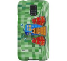 8bit Robot Droid Dalek with blue phone box Samsung Galaxy Case/Skin