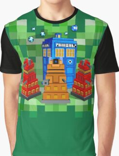 8bit Robot Droid Dalek with blue phone box Graphic T-Shirt