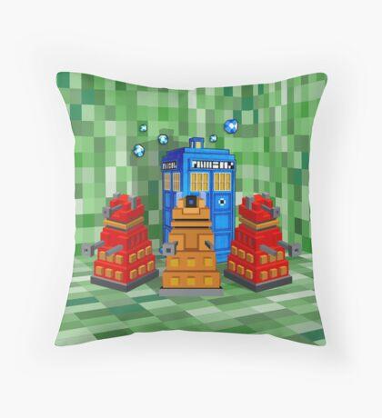 8bit Robot Droid Dalek with blue phone box Throw Pillow