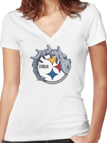 Pittsburgh Steelix T-Shirt Women's Fitted V-Neck T-Shirt