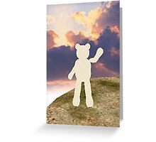 teddy bear waving good bye to the clouds Greeting Card
