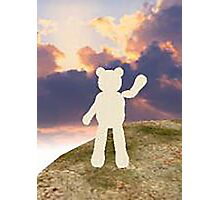 teddy bear waving good bye to the clouds Photographic Print