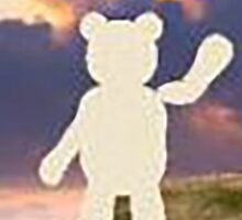 teddy bear waving good bye to the clouds Sticker