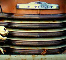 Front End Grille Of 1953 Chevrolet Advantage Design Truck With Dog Skeleton Sticker