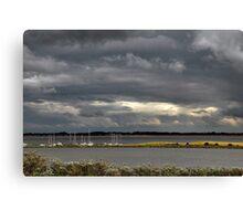Dark clouds above Lake Grevelingen Canvas Print