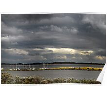 Dark clouds above Lake Grevelingen Poster
