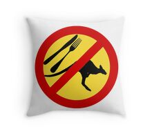 Don't eat Kangaroos (yellow) Throw Pillow