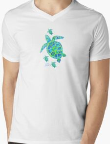 Sea Turtle with babies Mens V-Neck T-Shirt
