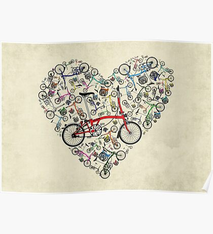 I Love Brompton Bikes Poster