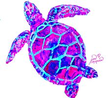 Sea Turtle Pink and Blue by Jan Marvin