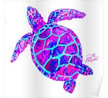 Sea Turtle Pink and Blue Poster