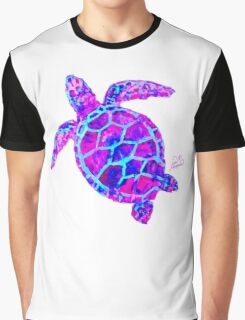 Sea Turtle Pink and Blue Graphic T-Shirt