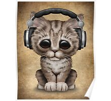 Cute Kitten Dj Wearing Headphones  Poster