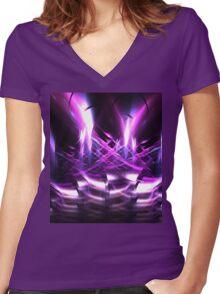 Hollyhocks Women's Fitted V-Neck T-Shirt