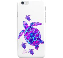 Sea Turtle with babies pink and blue iPhone Case/Skin