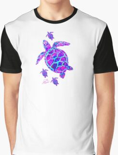 Sea Turtle with babies pink and blue Graphic T-Shirt