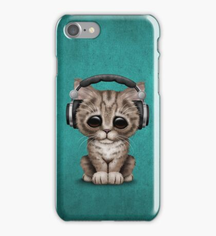 Cute Kitten Dj Wearing Headphones on Blue iPhone Case/Skin