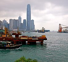 Construction Activity, Hong Kong  Harbour, 2012. by johnrf