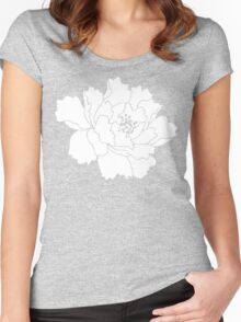 White Japanese Peony Flower Women's Fitted Scoop T-Shirt