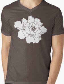 White Japanese Peony Flower Mens V-Neck T-Shirt