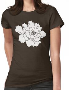 White Japanese Peony Flower Womens Fitted T-Shirt