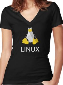 Tux the Penguin flatshaded Women's Fitted V-Neck T-Shirt